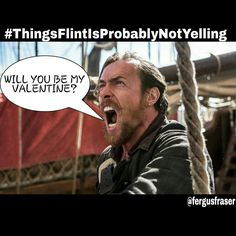 I wonder if we'll see Flint's softer side on tomorrow's episode of #BlackSails #NotLikely #TeamFlint