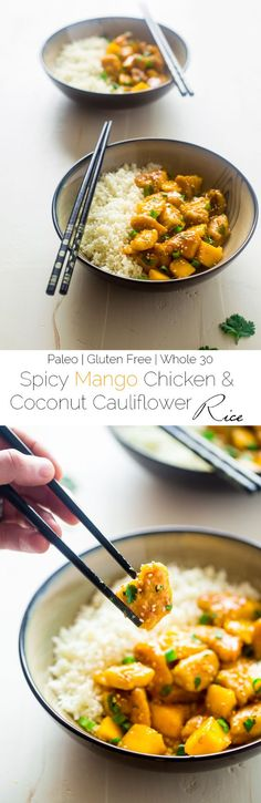 Mango Chicken With Coconut Cauliflower Rice {Whole 30 + Paleo + High Protein}  #justeatrealfood #foodfaithfitness