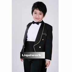 Black Double Breasted Wedding Bell Boy Boys Kids Dress Tail Suit Tuxedo SKU-132124