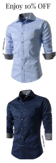 f73f4323f563e Casual light check print men shirt for work and meetings. Find it in sky  blue · Men TipsNavy Blue ShirtsGrey FlannelMen ...