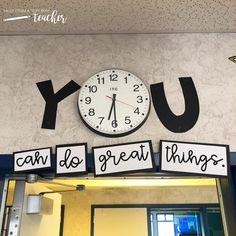 Title for Your Classroom Clock {You can do great things!} Title for Your Classroom Clock {You can do great things!},New classroom Related posts:Spicy Shrimp Tacos with Avocado Ideas Diy Organization College Notebooks Back. Classroom Clock, Middle School Classroom, Classroom Design, Future Classroom, Classroom Organization, Classroom Bulletin Boards, English Classroom Decor, Decorating Ideas For Classroom, Highschool Classroom Decor