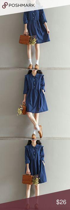 Style Blue Dress Sizes: M/L/XL/2XL  Bust: 96/100/104/108cm  Shoulder: 40/41/42/43cm  Sleeve: 54/55/56/57cm  Length: 90/91/92/93cm Dresses Long Sleeve