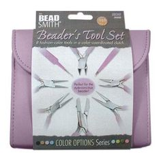 BEADSMITH 8 FASHION-PURPLE COLOR TOOL SET FOR MAKING JEWELRY with COORDINATED CLUTCH CARRY CASE