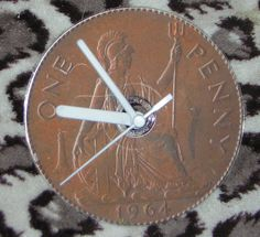 British 1d Penny CD Desk or Wall Clock