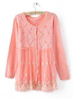 Pretty Pink Round Neck Lace Sweater$39.00