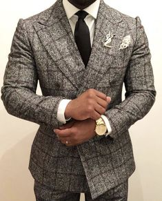Custom made tailored suits have never been more in demand! Have your own men's custom grey double breasted windowpane suit designed and made from Giorgenti New York! Make your appointment today! Gentleman Mode, Gentleman Style, Mens Fashion Suits, Mens Suits, Gq Style, Herren Outfit, Dapper Men, Suit And Tie, Well Dressed Men