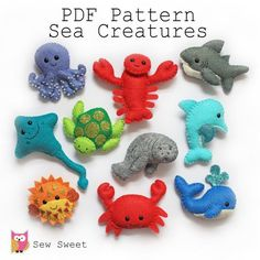 This PDF file is to make a set of 10 Super cute Sea creatures felt softies as shown in the main photo. **IMPORTANT. This item is a digital file, NOT a finished product. Please feel free to contact me with all the questions you may have before you make a purchase if you're unsure. Due to the digital nature of this item, all sales are final. Thanks! Size Guide; Lobster - 7.5 cm h x 9cm w Whale - 6 cm h x 7.5cm w Sea Turtle - 6cm h x 7cm w Dolphin - 7cm h x 5.5cm w Stingray - 11cm h x 6.5 w…