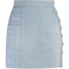 Balmain Side-button stretch-denim mini skirt ($805) ❤ liked on Polyvore featuring skirts, mini skirts, short mini skirts, embellished skirts, stretch denim skirt, blue skirt and short skirts