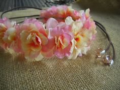 Pink yellow ivory flower crown with brown suede and by triolette, $8.99