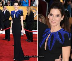 My McQueen wedding dress but in black with blue beadwork!  Sandra Bullock always looks so gorgeous.