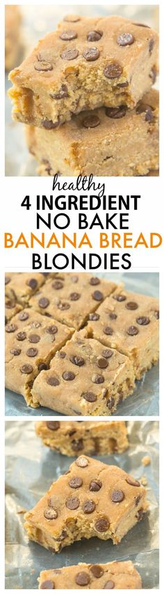 Healthy FOUR ingredient No Bake Banana Bread Blondies- Quick and easy recipe- one bowl + 5 minutes to whip up these delicious soft and fudgy blondies which are healthy too! {paleo, vegan, gluten-free} (Paleo Brownies Banana)