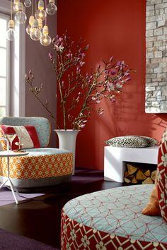 Ein Wohnliches Rot Als Wandfarbe. #KOLORAT #Wandfarbe #Rot #red #streichen