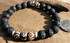 Men's black Lava stone Bracelet, Mala Bracelet Men, Buddhist Mala bracelet, Men Bracelets large 10mm stones