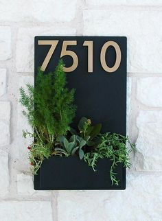 East Side Planter w/ Brass or Silver Address Numbers, House Numbers, Address Sign (Free Shipping)