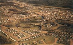 Atikokan Ontario aerial photo, 1960s.  See the lil footbridge?  That goes from Don Park to Hancock Boulevard where I spent my youth!!  Our old house was across the street from that spit of land on the right.  Cool.