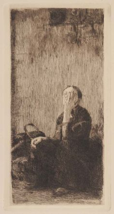 At the Church Wall Etching; Käthe Kollwitz 1893