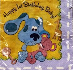 Blue's Clues 1st Happy Birthday Cake Napkins (16 Count) by DesignWare, http://www.amazon.com/dp/B008CK9IK8/ref=cm_sw_r_pi_dp_0CQUqb0YXMQ45