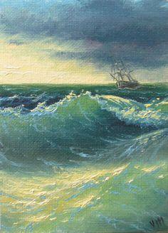 211 Wavy Sea 5x 7 original canvas giclee by vladimirmesheryakov