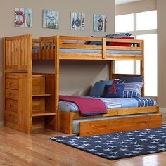 My son's Bunk Bed.  He has a blast determining if he is going to sleep on top, on the bottom, or in the trundle. :)  Sleepovers are a blast...and I know he's safe with this bed!