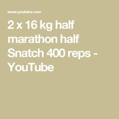 2 x 16 kg Half Marathon Half Snatch 400 reps This was brutal. Complete contrast to my 359 reps 32 minute set a few days ago. Kettlebell Training, Marathon, Competition, Sport, Youtube, Deporte, Marathons, Excercise, Sports