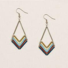 Chevron Bead and Chain Tribal-Chic Earrings **Altiplano