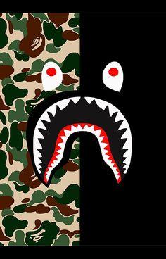 shark black bape camo Wallpaper Pinterest Shark
