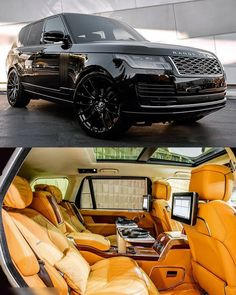 What do you think 🤔 to the Black and Tan leather combination. more 2019 Range Rover Vogue via Top Luxury Cars, Luxury Suv, Bmw I8, Toyota Prius, My Dream Car, Dream Cars, Range Rover Vogue, Range Rover Sport, Range Rover Black