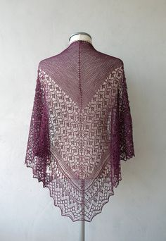 Silk lace shawl purple hand knitted triangular lace by LaceForYou