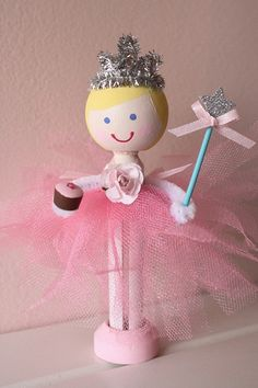 Wooden Doll Ballerina Princess Birthday Cake Doll Topper