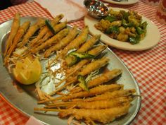 Seafood fried coconut shrimp on a stick