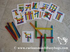Popsicle Stick Patterns Busy Bags This is a brain workout. Kids need to match the pattern on the cards with colored popsicle sticks to make it look like the card. And I like the other brain building activities on this site.