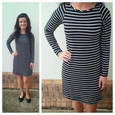 Black and white striped dress, great for now with sandals and super cute later with some high cognac boots! L and XL in store but can order XS-XL. $78. Yala Brand
