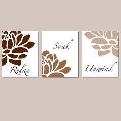 Floral Bathroom Art  Set of Three 8x10 Prints  Relax by Tessyla, $55.00