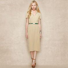 Silk Crepe Belted Dress - Blue Label Blue Label New Arrivals - RalphLauren.com
