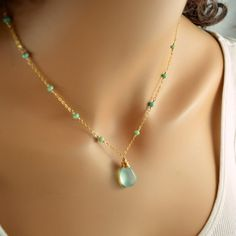 Chrysoprase Necklace with Aqua Chalcedony in Gold or Sterling Silver - Gold Jewelry Bead Jewellery, Gold Jewelry, Beaded Jewelry, Jewelery, Jewelry Necklaces, Dainty Diamond Necklace, Gemstone Necklace, Beaded Necklace, Mint Necklace