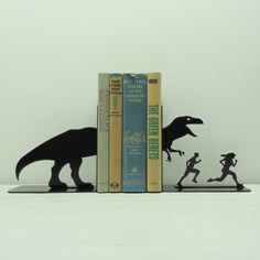 T-Rex Attack Metal Art Bookends. Quirky but cute:)