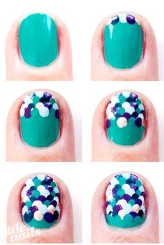 Dotting Scale Mermaid Nail Art Manicure Tutorial