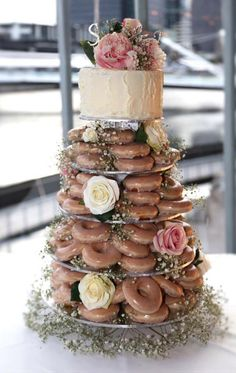 Krispy Kreme naked donut tower cake. This is a thing and it's awesome.