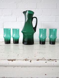 Vintage Scandinavian Glass Water Pitcher Jug with 4 Drinking Glasses Kaj Franck in Pottery, Porcelain & Glass, Glass, Art Glass, Scandinavian, Other Scandinavian Art Glass | eBay