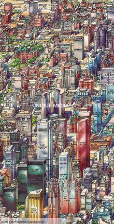Illustrated map of Toronto Amazing Photos, Cool Photos, Medium Close Up, Toronto Travel, Wall Maps, Whimsical Art, Landscape Photos, Art Paintings, Geography