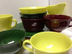 Great 1950s Anchor Hocking Set of Colored Milk by SylviasFinds, $20.00