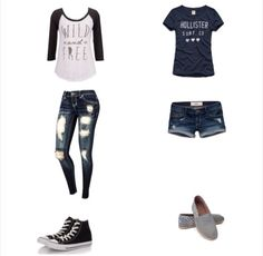 1.Wild and Free baseball tee,ripped dark jeans,and black and white converse 2.Hollister surf co. Navy blue tee,ripped dark jean shorts,and light grey toms