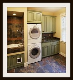 Laundry room with doggie shower and cat door to hidden litter box