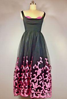 8d72bb46e4e Tomasz Starzewski Vintage Black 80s Does 50s Net Tulle Gown Dress Prom 37  Bust - Vintage Dress Closet