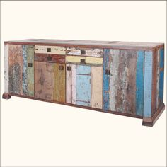 1. Reclaimed Wood Multi-Colored Weathered Storage Sideboard