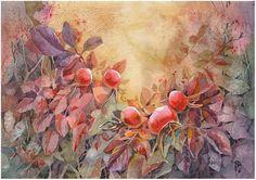 Autumn Wild Rose by kosharik69 on deviantART ~ artist Inna from Belarus ~ watercolor