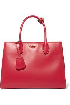 Prada - Bibliothèque Small Leather Tote - Red - one size