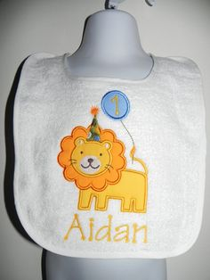 Applique Birthday Lion With Balloon Party Bib by characterdesigns, $14.00