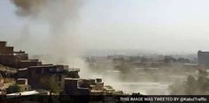 Suicide car bomber targeted a NATO military convoy near a busy market area in central Kabul