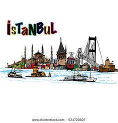 city illustration for print - bu stok vekt r esini Shutterstock zerinden sat n al n ve ba ka g rseller bulun City Quotes, Buch Design, Turkish Art, City Illustration, Istanbul Turkey, Istanbul City, Easy Watercolor, Mail Art, Tours